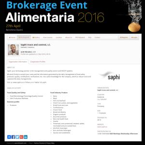 Ficha de SAPHI en el Brokerage Event de Alimentaria 2016